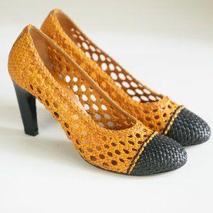 Dries Van Noten Woven Braided Leather Heels